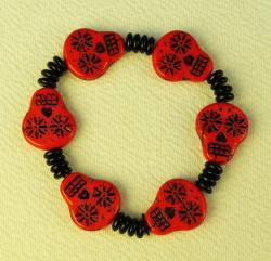 Day of the Dead Jewelry Red Glass skulls and black beads bracelet