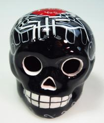 Day of the Dead Black Skull red heart