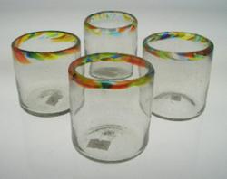Drinking Glasses, Confetti Rim, 8oz, Set of 4