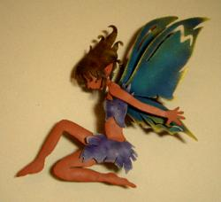 fairy with wings hand made metal Mexico