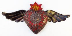 Flaming Heart with milagros and tin wings 7x14 Sun copper