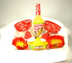 margarita gift basket red swirl mic Jose Cuevro salt