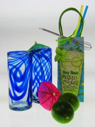 Mojito Party Gift, Blue Swirl Glasses from Mexico