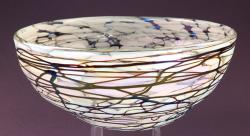 Hand blown glass bowl white confetti with chocolate swirls