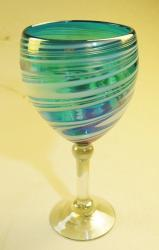 Wine glass hand blown 14oz Turquoise and White swirl Iridescent
