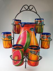 Painted Mexican Glass Pitcher set - PAPAYA, WATERMELON with display rack