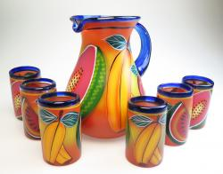 Painted Mexican Glass Pitcher set - PAPAYA, WATERMELON