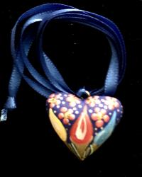 Heart Necklace hand painted wood Blue ribbon