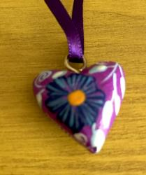Heart Necklace hand painted wood purple ribbon