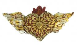 Milagro Heart with Flames and Wings 13 inches wide Heart