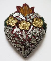 Flaming Heart with Roses and Milagros 5.5 x 7.5 inches