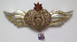 Milagro Heart with Wings and Flames 24 inches wide Heart