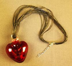 Red Heart XS on black ribbon necklace