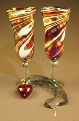 Heart and Champagne Flutes hand blown Red and White Swirl