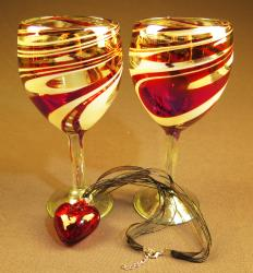 Heart and Wine glasses hand blown Red and white swirl