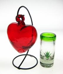 Red Heart and  agave shot glass