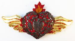 Heart Flamed Wings wood with Milagros 5x9 Heart brass