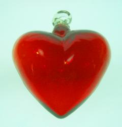 heart red glass hand blown Mexico 1 small
