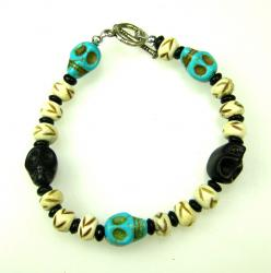 Day of the Dead Jewelry Turquoise and Black skulls Bracelet