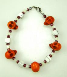 Day of the Dead Bracelet Orange Skulls