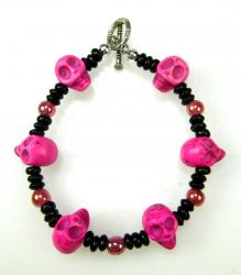 Day of the Dead Bracelet pink skulls