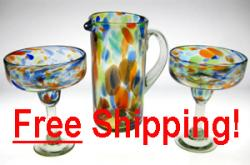 Pair(2) of Tall, Multi Colored Confetti Swirl Margarita Glasses & Matching Pitcher Free Shipping