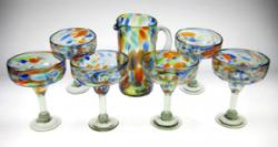 Set of Six(6) Tall, Multi Colored Confetti Swirl Margarita Glasses & Matching Pitcher