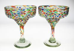 Mexican glass pebbly/ Bumpy Confetti Margarita Glasses, Set of Two