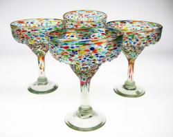 Mexican glass pebble Bumpy Confetti Margarita Glasses, Set of Four