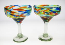 Bright Confetti Swirl Margarita Glasses, 15oz, Set of Two (2).