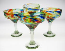 Bright Confetti Swirl Margarita Glasses, Set of Four