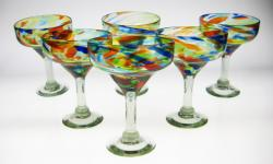 Margarita Glasses, Bright Confetti Swirl, 15oz, Set of 6