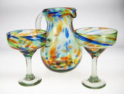 Mexican Glass Bright Confetti swirl Margarita Set