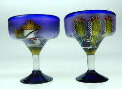 Margarita Glasses, Cactus Sleeper Design, 15oz, Set of 2