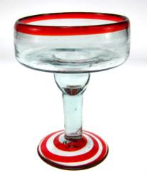Margarita Glass, Red Swirl Base, 12oz