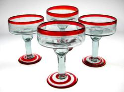 Margarita Glasses, Red Swirl Base, Set of 4, 12oz
