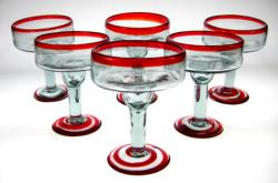 Mexican Margarita Glasses, Red Rim, Set of 6, 12oz