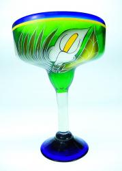 Mexican Margarita Glass XXL 56oz Calla lily on Green