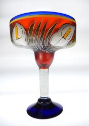 Mexican Margarita Glass XXL 56oz Calla lily on Red