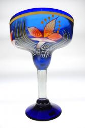 Mexican Margarita Glass XXL 56oz Orchid Flower on Blue