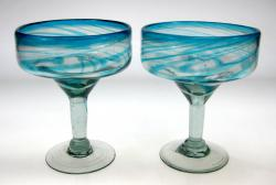Turquoise Swirl Margarita Glasses, Set of 2