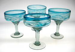 Turquoise Swirl Margarita Glasses, Set of 4