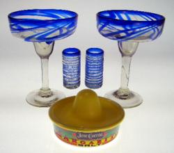 margarita glasses blue swirl and shot glasses hand blown Mexico Jose Cuevo
