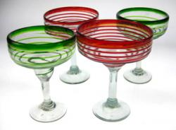Margarita Glasses, Red & Green Spiral Rim, Set of 2 Each