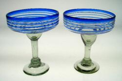 Mexican Blue glasses, Margaritas Blue Spiral 15 oz, Set of 2