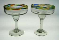 Margarita Glasses confetti rim, set of 2 Mexican hand blown