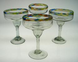 Margarita Glasses confetti rim, Mexican hand blown