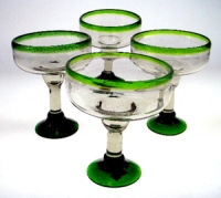 Margarita Glasses, Green Rim, 12oz, Set of 4