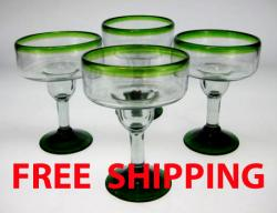 margarita glasses Mexico green rim green base