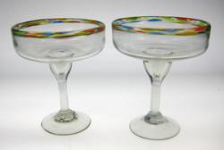 Margarita Glasses, Extra Large, Confetti Rim, 18oz, Set of 2